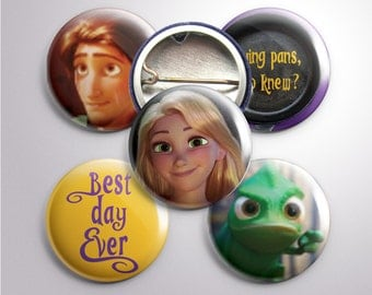 Repunzel-themed Buttons, 1""