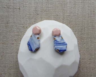 Faceted Perfume Bottle Stud Earrings