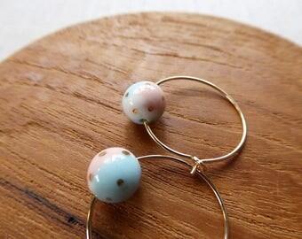Small Dot Colour Wheel Ball Hoop Earrings