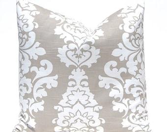 15% Off Sale Decorative Pillow Cover, Taupe Pillow Cover, Damask Pillow, Tan Pillow Covers, OneThrow Pillow Cover, Premier Prints Ecru Damas