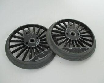 Vintage Salvaged Metal Wheels - Circular Art - Assemblage Art - Mixed Media Art - Original Black Paint -Two in Lot