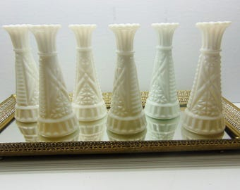 Vintage Milk Glass Vases, Set of 6 Bud Vases