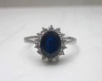 Estate Sapphire and Diamond Engagement Halo Ring in 14k Solid White Gold, Size 7.75