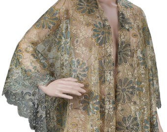 Lace With Embroidery and Sequin Flowers Floral Pattern Cape Scarf Shawl - Green Olive Gold