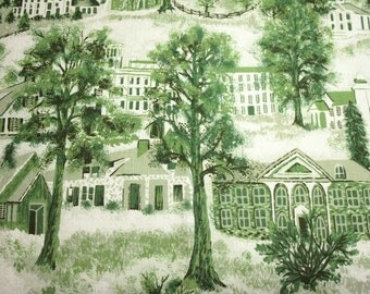 "Very Rare Grandma Moses ""Williamstown Toile"" Unused Vintage Barkcloth - 21 x 16 Inches"