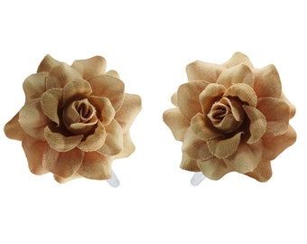 1 Pair Mini Light Brown Rose flower Hair Clip