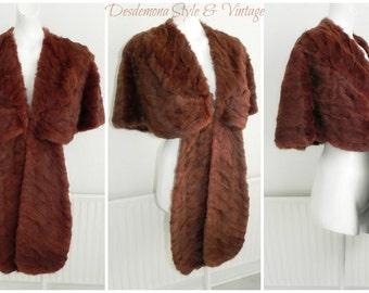 Vintage 1930s 1940s real rabbit fur wrap shrug cape antique winter spring wedding opera capelet bolero bridal autumn mink costume