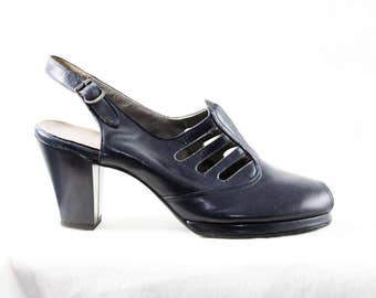 Size 6 1/2 1940s Platform Shoes - Navy Blue Leather Peep Toe Pumps with Ribcage Design - 40s Deadstock Shoe - 6.5 AA Narrow - 48205