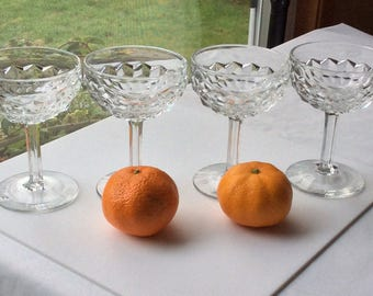 Fostoria American Champagne Tall Sherbert Glasses with Round Base - Set of 4