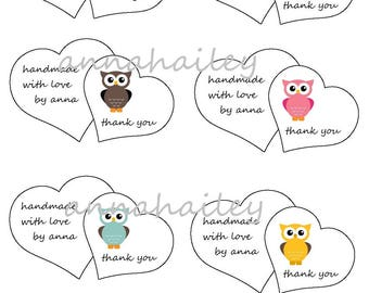 Printable Double Heart  Thank You Gift Tags Labels  Gift Tags PDF Crochet Knit PDF only