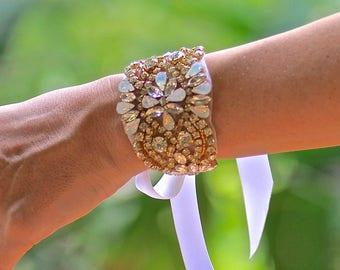 Gold Crystal Bridal Cuff, Opal & Crystal Cuff, Crystal Wedding Cuff Bracelet, Clear Crystal and Silver Cuff Options  GEMIMA