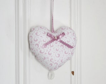 Fabric heart to hang Arabesques Pink White Ornament Door hanger Victorian Decoration Small gifts for women