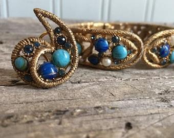 Vintage Capri Hinged Clamper Cuff Bracelet and Clip Earrings Set, Faux Pearls, Cabochons, Blue Rhinestones