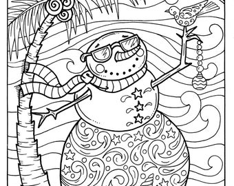 Christmas Dolphins Coloring Page Adult Coloring Beach Color