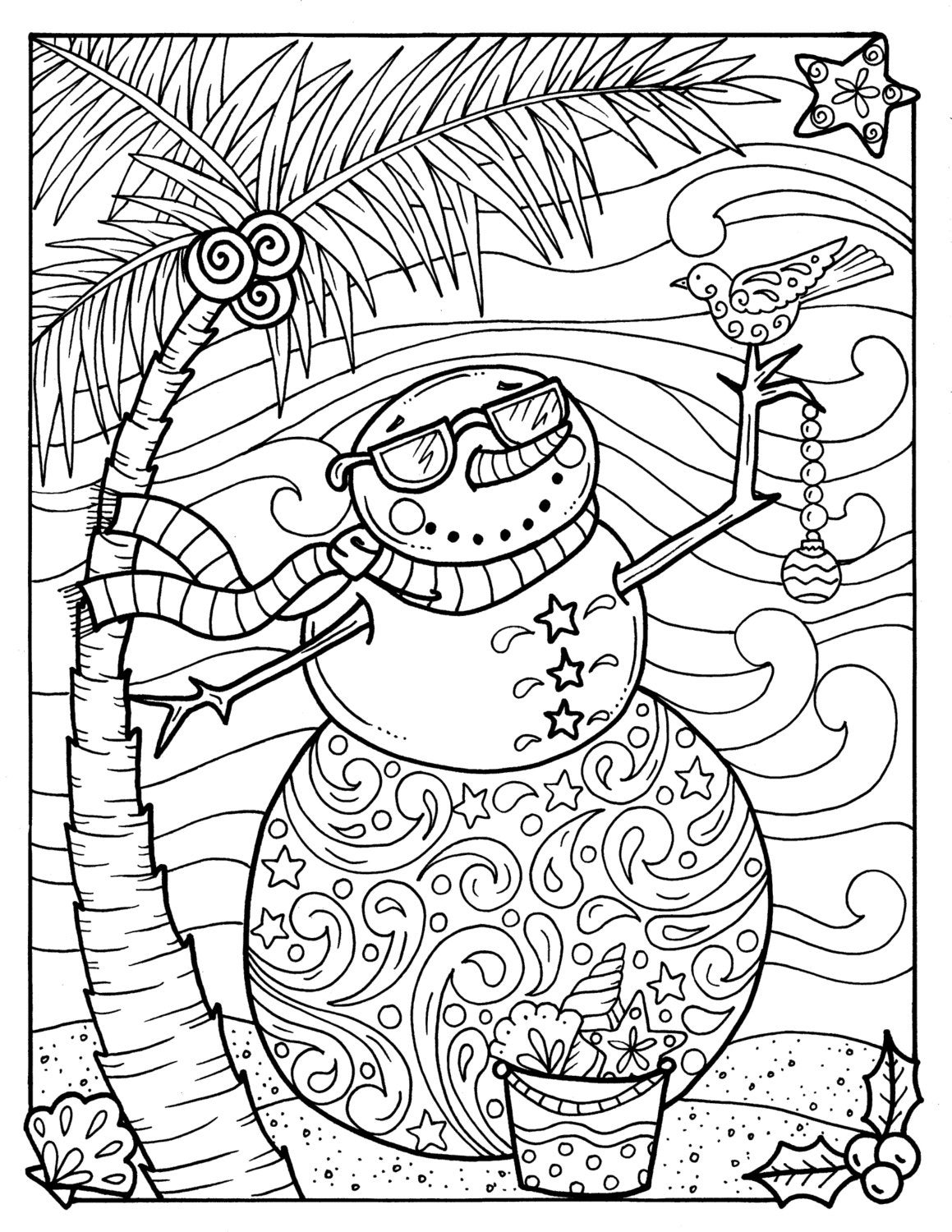 tropical snowman coloring page coloring beach holidays