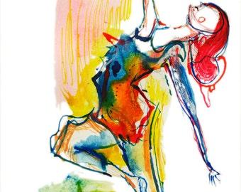 Original Abstract Surreal Watercolor Dancing Figure Painting - B13