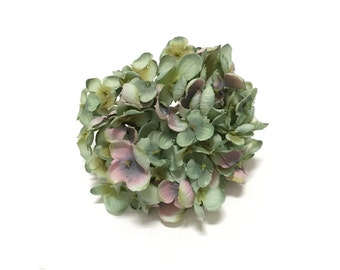 Artificial Hydrangea Head in Green with Pink - Smaller Blossoms, Artificial Flowers, Silk Flowers, Flower Crown, Millinery