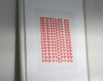 Large red Mid Century Modern original screenprint, geometric handmade art on beautiful paper by Emma Lawrenson