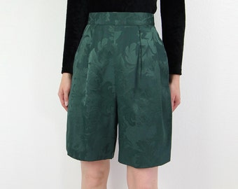 VINTAGE Green Shorts Brocade High Waist