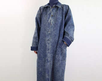 VINTAGE Denim Duster Jacket 1980s Osh Kosh Stonewashed Jean