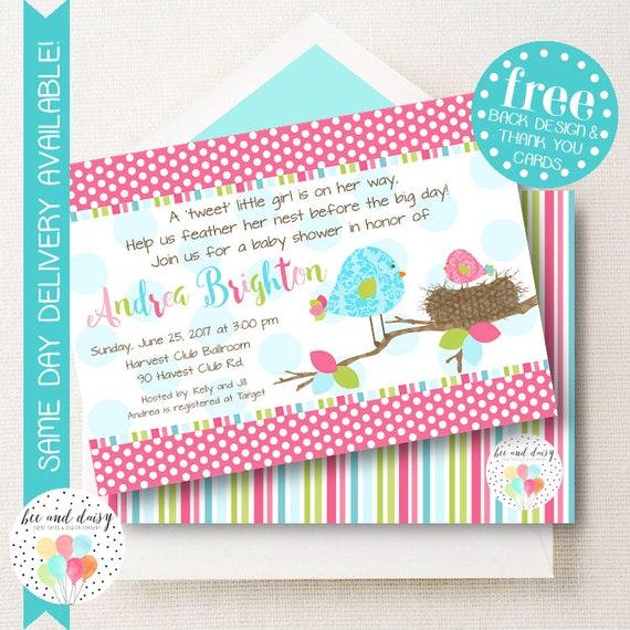 Baby Bird Baby Shower Invitation, Girls Baby Shower Invitation, Baby Birds Nest Invitation, Baby Shower Invite, Printable Shower Invite