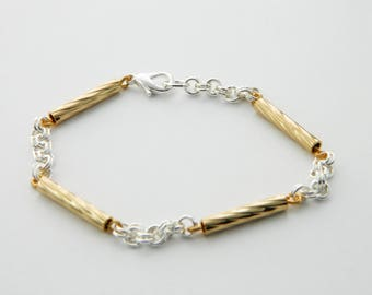 Set of 3 Silver and Gold Chain Link Bracelets - 3 PCs