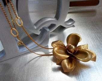 Vintage brass Flower petal Necklace. Victorian, Statement Jewelry, Vintage chain. Hand assembled Vintage brass petal findings. One of a kind
