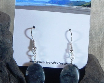 Flashy gray larvikite earrings twisted ovals labradorite semiprecious stone jewelry packaged in a colorful gift bag 3148 A