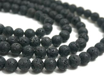 10mm black lava rock beads, round black gemstone, FULL & HALF strands available  (1268S)