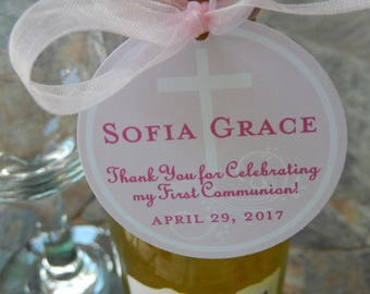 "First Communion Thank You Custom 2"" Favor Tags - for Mason Jar Gifts - Mini Wine or Champagne Bottles - Catholic Party Favors - (40) Tags"