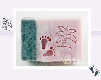 SR Coconut tree + 2 little feet  (2pcs) Acrylic Soap Stamp / Cookie Stamp / Clay Stamp
