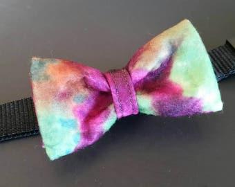 Blue tye die, pink tye die, green tye die, Dog bowtie, Cat bow tie, Tie dye bow tie