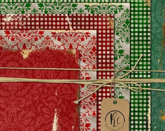 Christmas Craft Paper Pack. Commercial Use okay. scrapbook invitations supplies holiday season cards