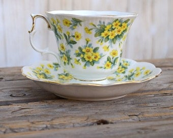 Royal Albert teacup and saucer yellow primrose Drury Lane Nell Gwynne series bone china floral bridal shower spring Easter garden tea party