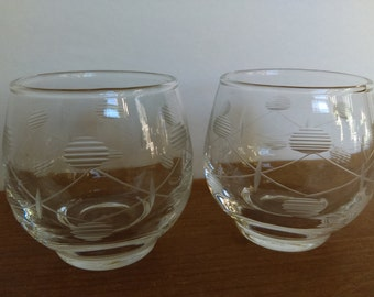 Vintage Etched Glass Low Ball Glasses or Tea Light Holders