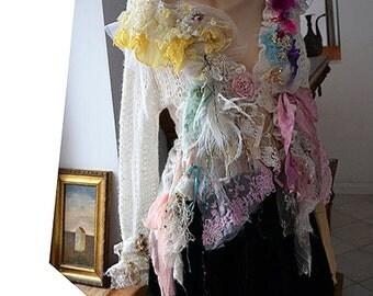 Unique Art To Wear Feminine White Soft Sweater/Jacket SWEET WINTER Antoinette  Fairy Boho Tattered