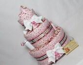 Baby Diaper Cake Polka Dots Pink Shower Gift Centerpiece Girls