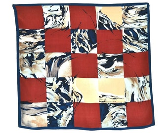 Vintage Silk Scarf Mint Condition Navy Rust Brown Cream Abstract Geometric Large Scale Modern Tonal 35 x 32 inches Bold Dramatic Print