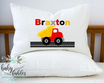 Personalized Boy Pillowcase, Dump Truck pillowcase, Boys Pillow Case, boys room decor, truck pillowcase, kids pillowcase, boy birthday gift