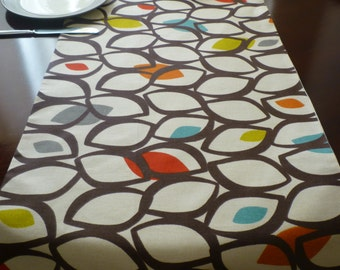 "120"" Long Table Runner 10 Foot Orange Brown Multi Retro Funky Modern Cotton Dining Home Decor"