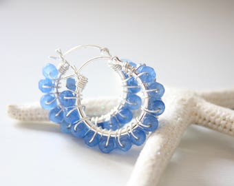 Sterling Silver Agate Hoop Earrings, Nautical Hoops, Blue Agate Stones, Ready to Ship, Limited Edition