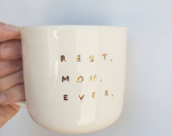 Best mom ever mug mothers day gold ceramic handmade coffee mugs