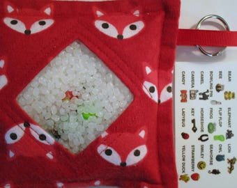 I Spy Bag, Red Foxes, Neutral, eye spy, busy bag, seek and find toy game, gift, sensory occupational therapy, travel toy, fidget stimming