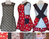 Plus size Apron, No Tie Apron, Choice of Fabric - Limited Quanities - Cross back apron - Made to Order Sizes XL, 2X, 3X, 4X