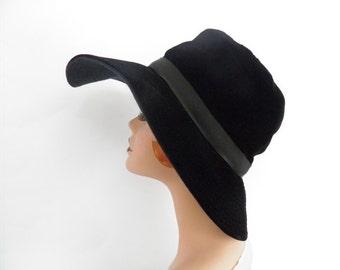 1960s vintage hat, black velvet wide brim, Desi New York