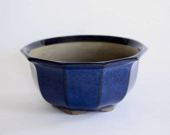 Vintage Blue Ceramic Planter, Pot, Vase