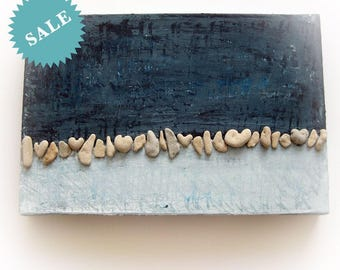 Pebble Art - Beach House Wall Decor - Unique Painting Heart Shaped Beach Rocks - Unique Handmade Gift - One Of A Kind 3D Art Wall decoration
