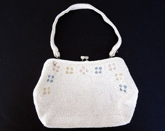Vintage Beaded Purse White Beaded Purse Beaded Evening Bag Bridal Purse Small Evening Purse Made In Japan Beaded Flowers Bride Purse B76