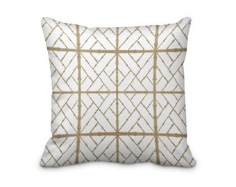 Taupe Bamboo Pillow Cover, Brown Bamboo Print Cushion Cover, Asian Style Throw Pillow Cover