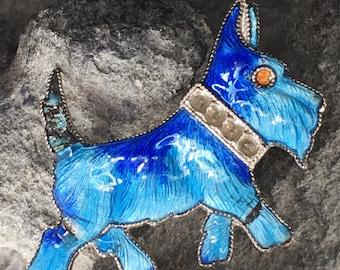 Enameled blue Scottie Dog Brooch
